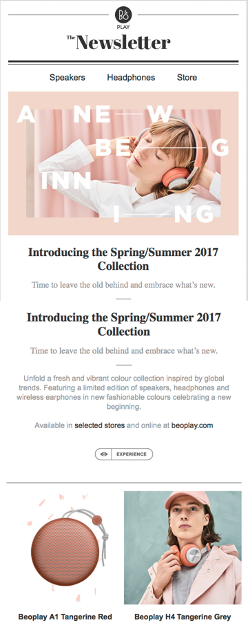 b&o play newsletter example